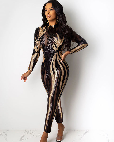Metallic Stripes Print Mesh Spliced Jumpsuit