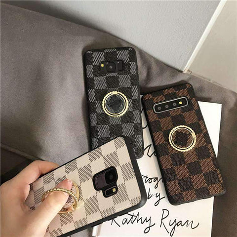 Contracted Grid Phone Case for Samsung with Phone Holder