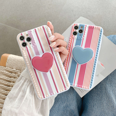 Multicolor Stripe Print iPhone Case with Heart-Shaped Phone Holder