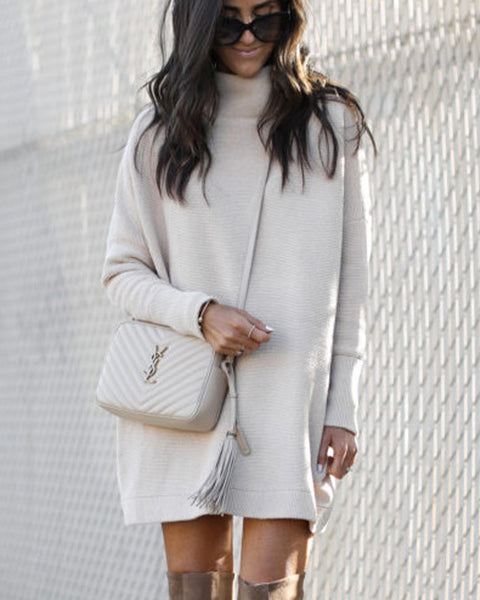 Turtleneck Drop Shoulder Sweatshirt Dress