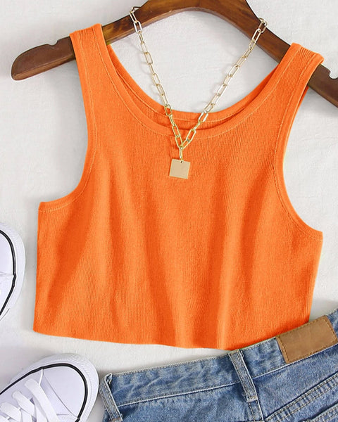 Round Neck Ribbed Knit Crop Sweater Vest