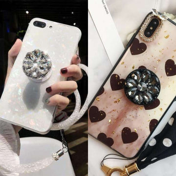 Two Pieces of Phone Cases for Apple iPhone with Phone Holder and Strap