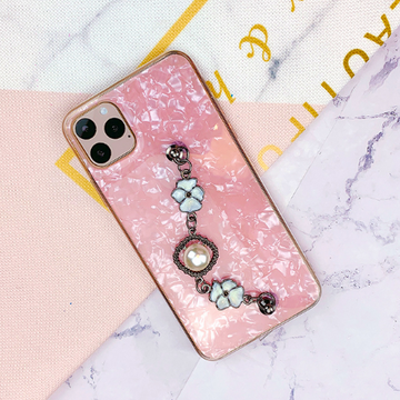Shell Pattern iPhone Case with Pearl Chain