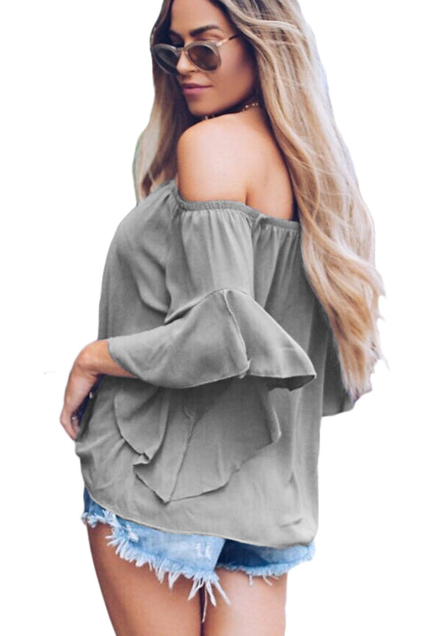 Gray Off The Shoulder Knot Front Top gallery 2