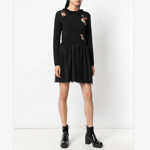Chic Round Neck Frill Detail Floral Embroidered Mesh Mini Dress