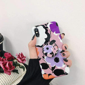 Chic Floral Pattern Phone Case for Apple iPhone with Phone Holder