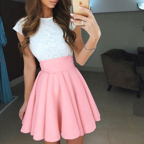 Solid Pleated A-line Mini Skirt