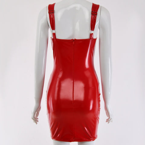 Sexy U-neck Red PU Leather Bodycon Mini Dress gallery 10