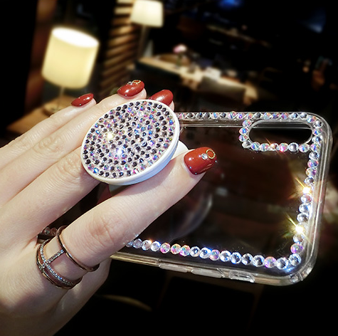Luxury Small Rhinestone Trim Transparent Phone Case for Samsung with Phone Holder gallery 11