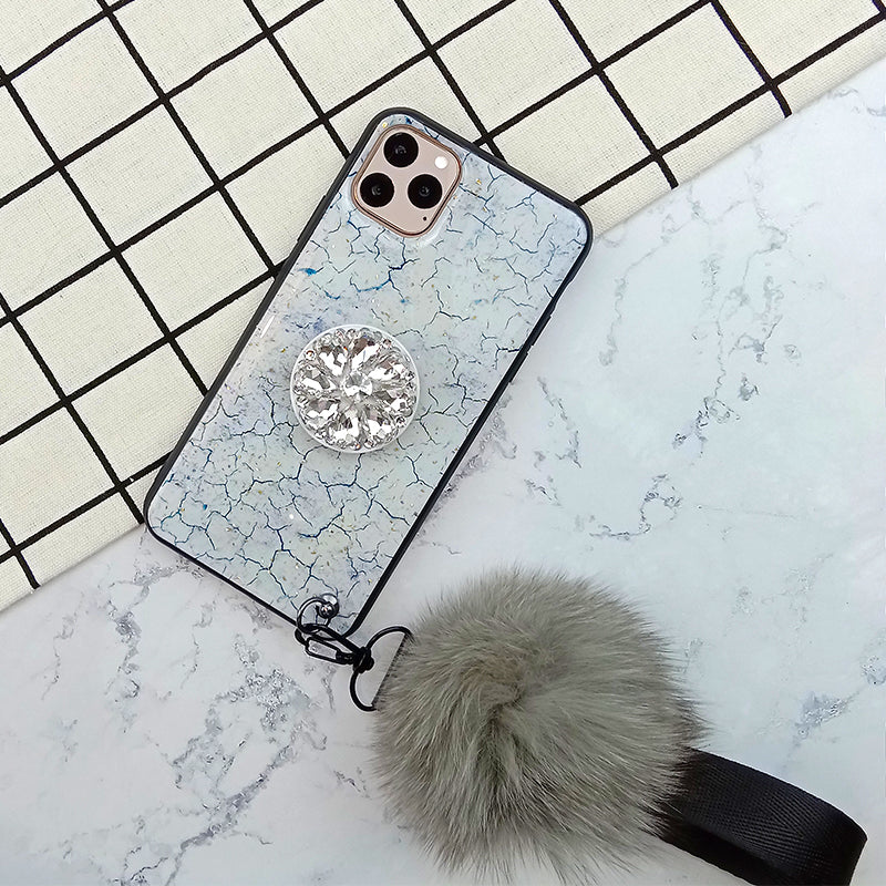 Marble Grain Phone Cases With Rhinestone Ring Stand And Fluffy Pendant For All iPhone