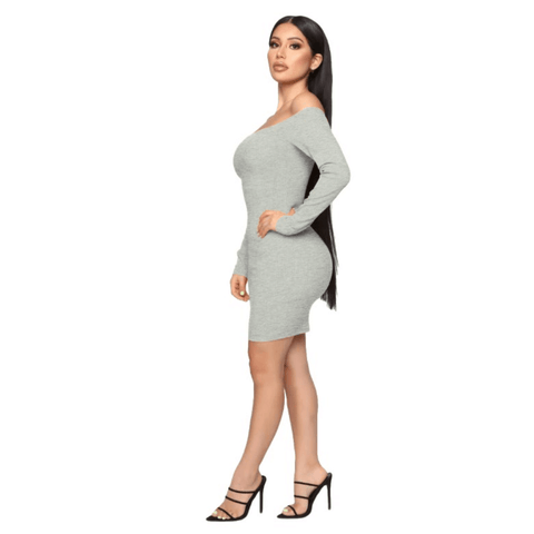 Shape Off Shoulder Ribbed Knitted Bodycon Dress gallery 10