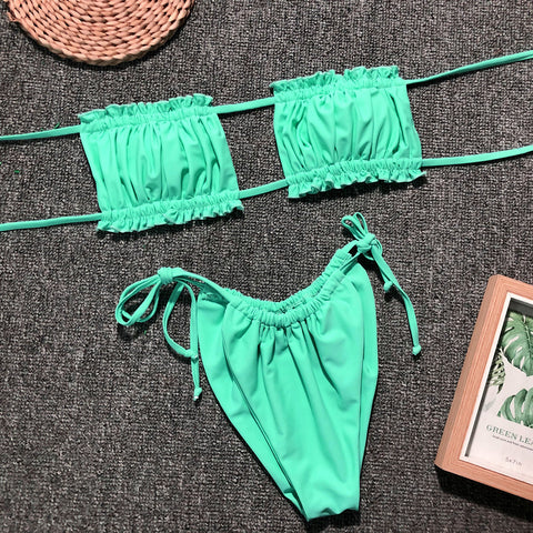 Ruched Bandeau With Tie Side Bikini Set gallery 14