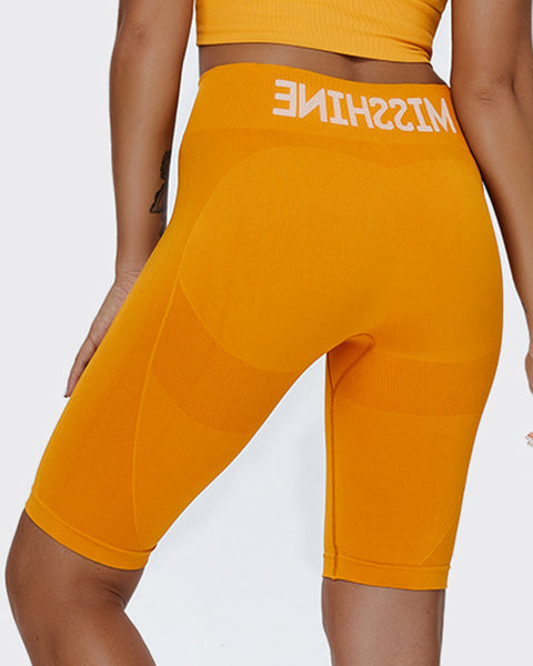 Letter Print Space Dye Seamless High Waist Sports Shorts gallery 4