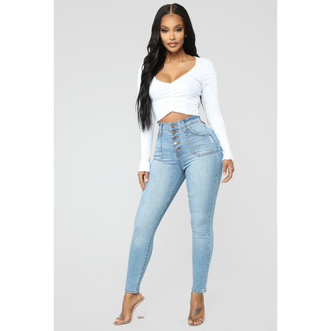 Super High Waist Plus Size Single Breasted Skinny Jeans