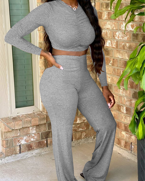 Solid Ruched High Waist Top & Pants Set
