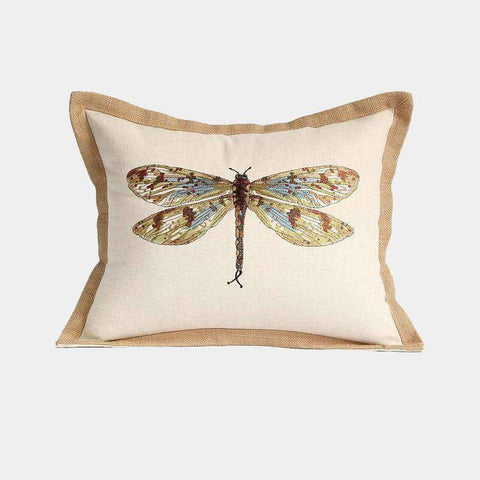 Dragonfly Embroidery Linen Pillow Cover gallery 1