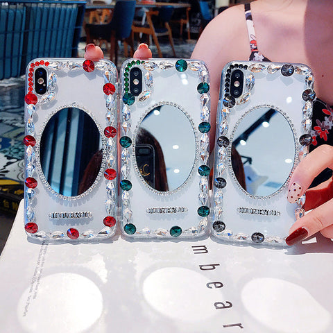 Oval Mirror Rhinestone Side Deco Phone Case for Samsung gallery 11