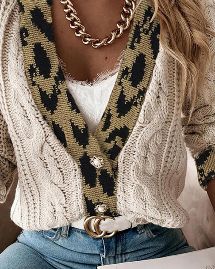 Leopard Print Cable Knit Drop Shoulder Sweater gallery 3