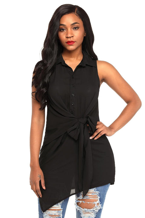 Black Tie Front Sleeveless Long Blouse gallery 3