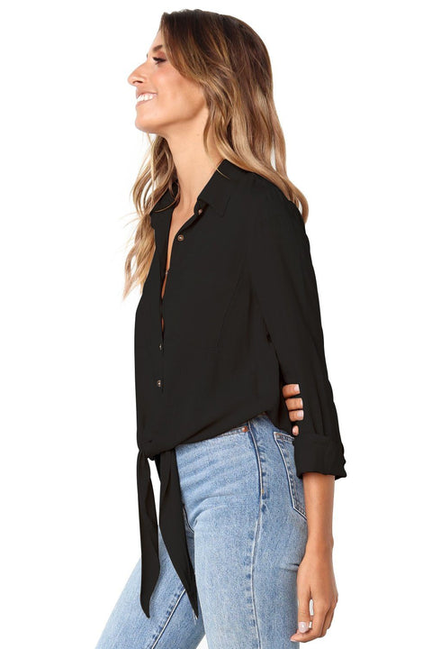 Black Crushed Linen Button-Down Casual Shirt gallery 2