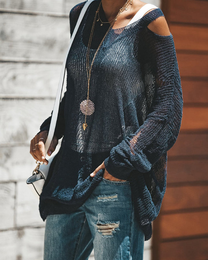 Chunky Knit Ripped Mesh Sheer Oversized Sweater gallery 3