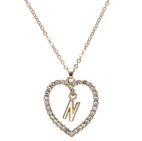 Gold Diamante Heart Shape Initial Pendant Necklace gallery 15