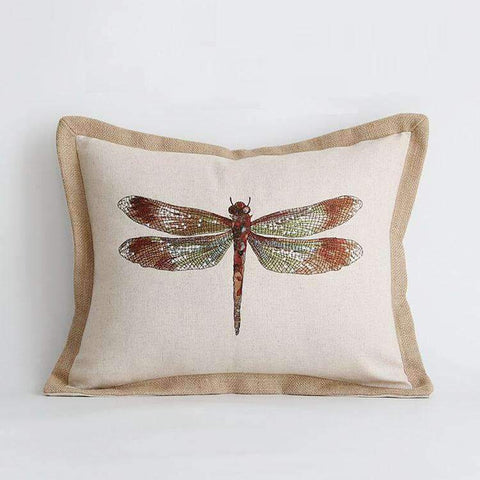 Dragonfly Embroidery Linen Pillow Cover gallery 2