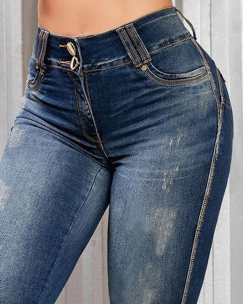 Ripped Roll Up Hem Capris Jeans gallery 4