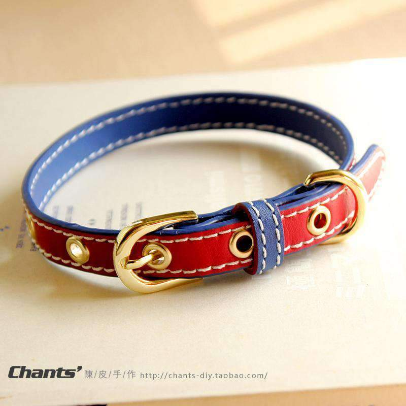 Cute Red & Blue Print Leather Pet Collar For All Pets