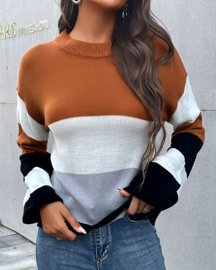 Colorblock Rib-Knit Round Neck Sweater gallery 1