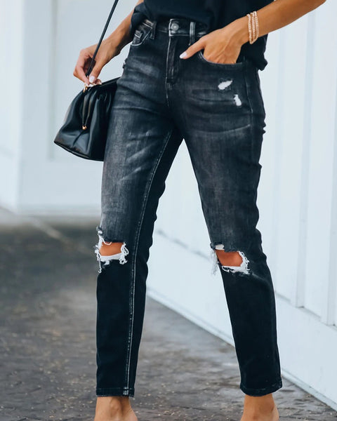 High Waist Knee Distressed Skinny Jeans