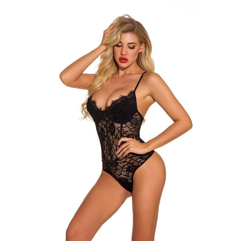 Deep V Neck Eyelash Lace Teddy