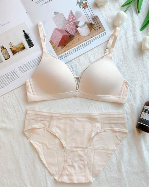 Basic Sheer Wireless Triangle Cup Bra and Panty Set