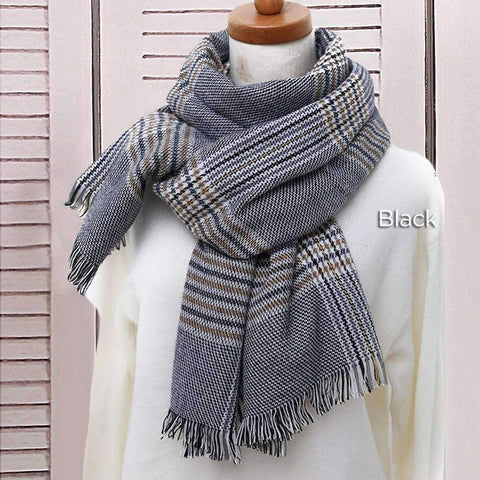 Classic Long Check Scarf With Frayed Edges For Men And Women, Unisex Faux Cashmere Plaid Muffler gallery 8