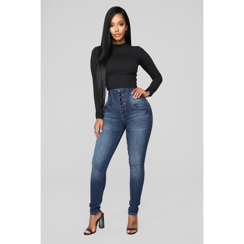 Button Front High Waist Butt Lifting Jeans