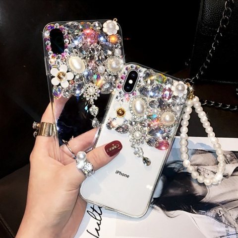 Half Transparent Rhinestone Phone Case for Samsung with Hand Strap gallery 5