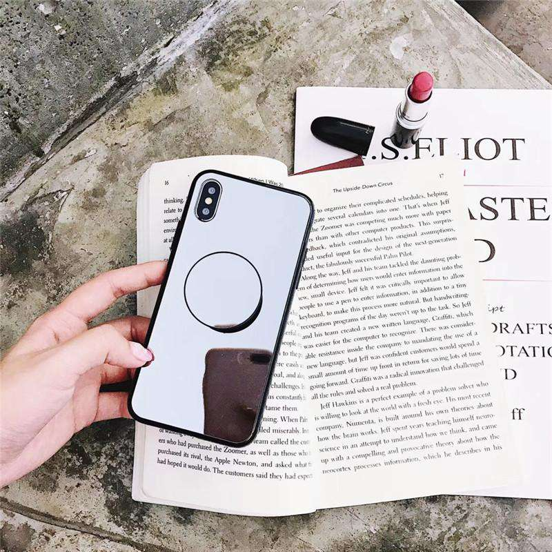 New Arrived Mirror Style Phone Case For iPhone With Phone Holder And String