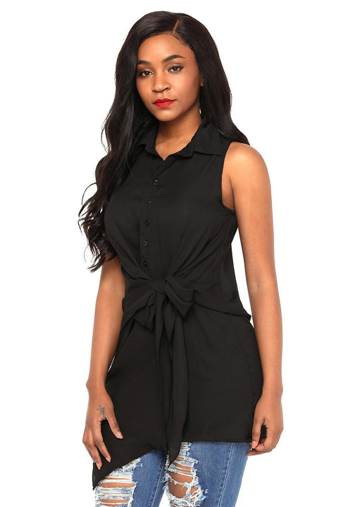 Black Tie Front Sleeveless Long Blouse gallery 4