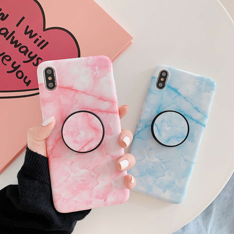 Concise Marble Print iPhone Case with Phone Holder