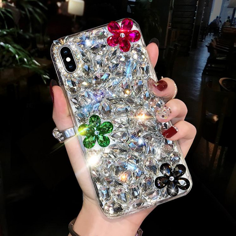 Glittering Floral Rhinestone Phone Case for Samsung gallery 1
