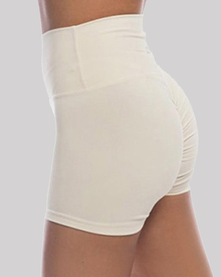 Solid Ruched Butt Lifting High Waist Sports Short gallery 5