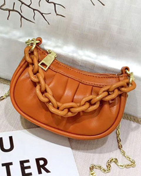 Chain Decor Ruched Bag