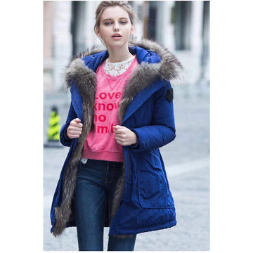 2 Colors Oversized Hooded Large Fur Collar Thick Puffer Jacket