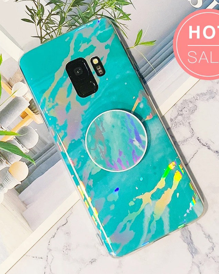 Marble Design Ceramic Pattern Super Slim Cover Jade Image Shell Phone Case for Samsung with Phone Holder gallery 1