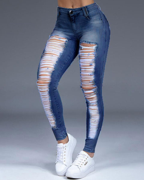 Extreme Distressed Stretch Butt Lifting Skinny Jeans gallery 4