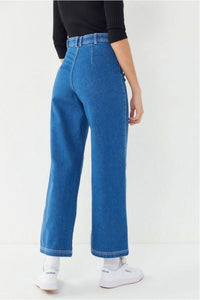 Button Fly High Rise Wide Leg Jeans
