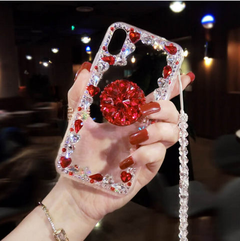 Glitter Crystal Stud Phone Case for Samsung with Phone Holder and Hand Strap gallery 5