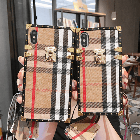 Plaid Pattern Rivet Detail Square iPhone Case with Hand Strap