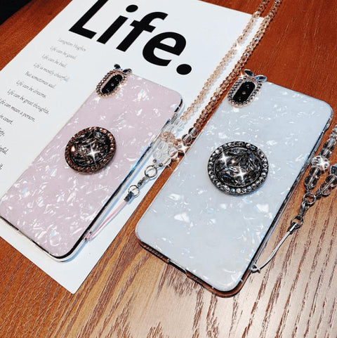 Elegant Shell Pattern Phone Case for Samsung with Artificial Rhinestone Diamond Phone Holder gallery 4