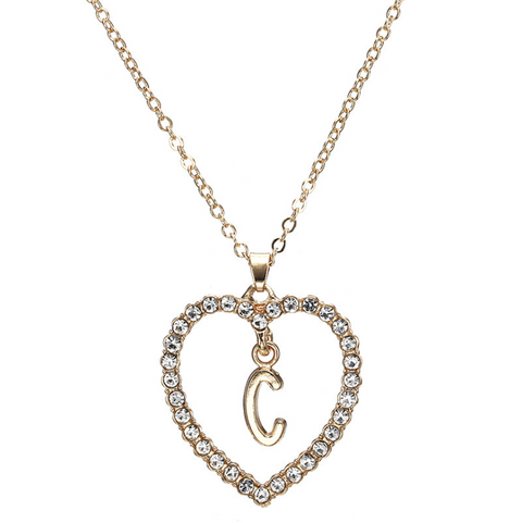 Gold Diamante Heart Shape Initial Pendant Necklace gallery 4